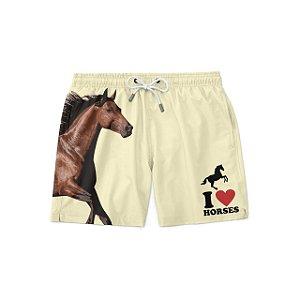 Short Bermuda Praia I Love Horses Masculina