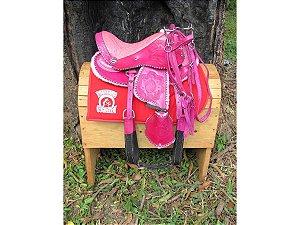 Sela Australiana Rosa De Arco Infantil Completa Para Menina Nova Arreada + Acessórios