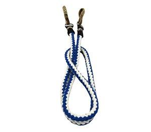 Rédea Branco Com Azul Luxo Em Lã Grossa Com Biqueiras Em Couro Cru Argolas De Aço Inox Original