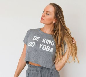 T-shirt Yoga Cropped Mescla - Be Kind Do Yoga