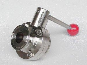 "Válvula Borboleta Inox 304 / EPDM TC 1"" x Macho SMS 1.1/2"""