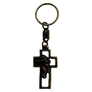Chaveiro Cruz com Jesus Ouro Velho