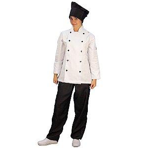 Jaqueta Chefe Brim Branco com Botão Cor