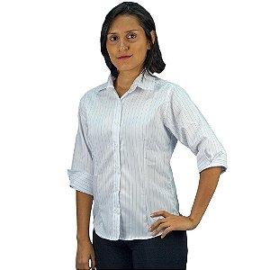 Camisa Social Oxford Feminina 3/4 Risca de Giz