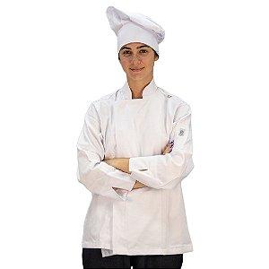 Jaqueta de Chefe Brim Botão Embutido