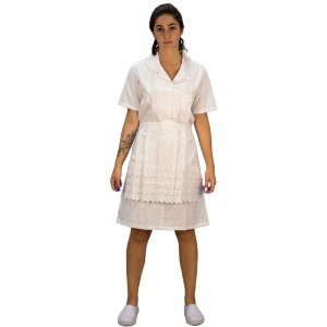Conjunto Vestido + Avental Brim Branco