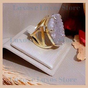Anel Pedra Natural Drusa de Quartzo Cinza - Pedra Semilapidada - Banho Ouro 18K - Semijoia de Luxo