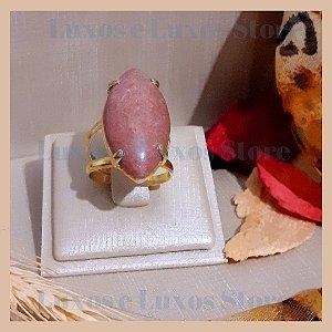Anel Pedra Natural Jaspe Rosa - Banho Ouro 18K - Semijoia de Luxo