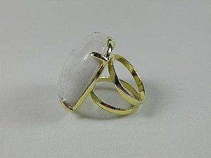 Anel Pedra Natural Plicromo Branco - Banho Ouro 18K - Semijoia de Luxo
