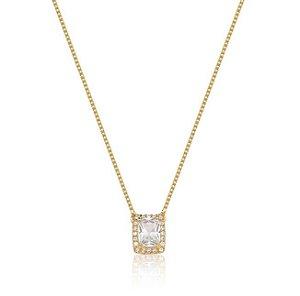 Colar com Pingente Quadrado e Cravação em Zircônia Cristal - Corrente Veneziana - Banho Ouro 18K - Semijoia de Luxo