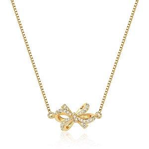 Colar Chocker Pingente de Laço Cravejado com Zircônia Cristal - Fecho Lagosta - Corrente Veneziana - Banho Ouro 18k - Semijoia de Luxo