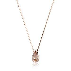 Colar Pedra Morganita Formato Gota Cravejado Com Micro Zircônia Cristal Em Volta - Banho Ouro Rosé 18K - Corrente Veneziana - Semijoia de Luxo