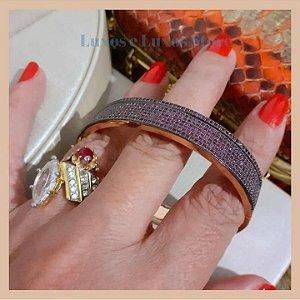 Bracelete Luxo com Sete Fileiras de Micro Zircônia Rubi - Banho Ouro 18K - Semijoia de Luxo