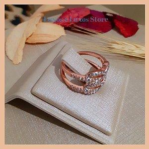 Anel Duplo Infinito em Micro Zircônia Cristal - Banho Ouro Rosé 18K - Semijoia de Luxo