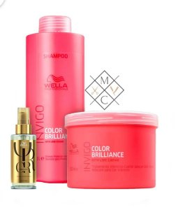 Kit Wella Brilliance Shampoo (1 Litro) Máscara (500ml) +  01 Oil Reflections Luminous  GRÁTIS
