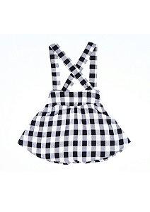 Saia/Salopete xadrez preto e branco com alças removíveis
