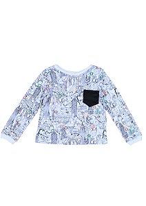 Camiseta estampada manga longa com bolsinho - Unissex