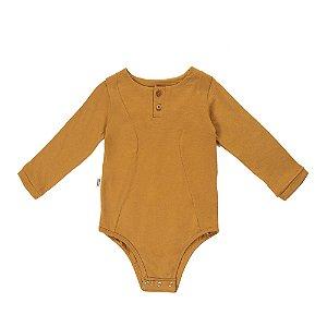 Body recortes manga longa mostarda em malha de algodão orgânico