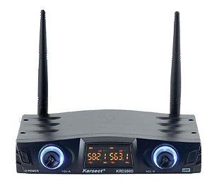 Microfone Karsect Sem Fio Cabeça Duplo KRD-200DH