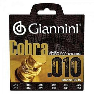 Encordoamento Giannini Para Violão Aço Cobra 0.10 12C. GEEF12M 5953