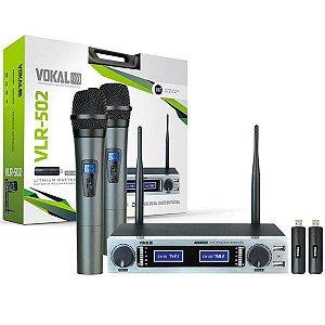 Microfone Vokal Sem Fio Mão Duplo VLR-502