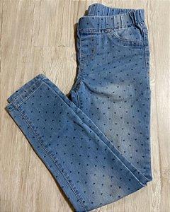 Calça Jeans com Elástico Infantil Coração