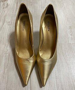 Sapato Dourado Salto fino