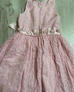 Vestido Infantil Rosa Flores