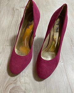 Sapato Salto Camurça Rosa
