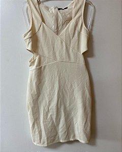Vestido Bege Detalhes nas Laterais