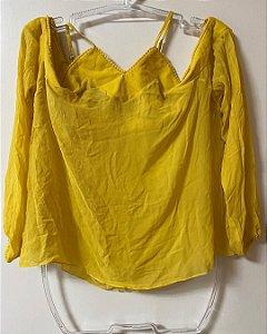 Blusa Amarela Seda Ombros de Fora