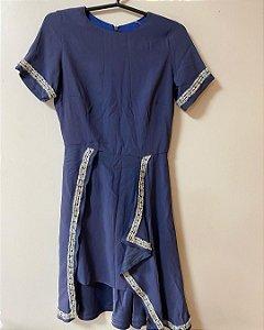 Vestido Azul Manga Curta