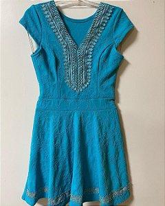 Vestido Azul Bordados