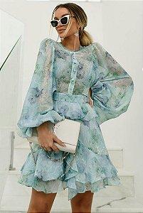 Vestido Chifon Turquesa