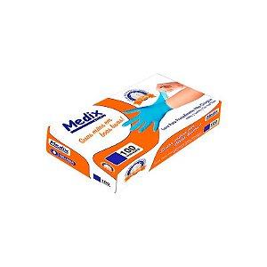 Luva Nitrílica Azul Sem Pó Tamanho P Caixa 100 Unidades - Medix