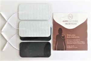 Eletrodo auto adesivo quadrado 5X10 com 4 unidades Aleph Premium