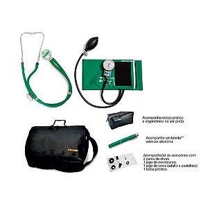 Kit Acadêmico Aparelho de Pressão Nylon Verde Velcro + Estetoscopio Rappaport + Bolsa + brinde