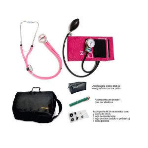 Kit Acadêmico com Aparelho de Pressão Nylon Rosa Velcro + Estetoscopio Rappaport + Bolsa + brinde - Pamed
