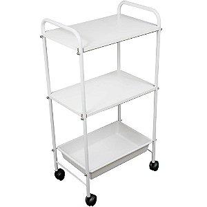 Mesa auxiliar estética branco 1 bandeja e 2 prateleiras - Ideal Móveis
