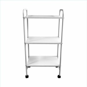 Mesa auxiliar estética branco 3 prateleiras - Ideal Móveis
