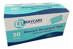 MASCARA CIRURGICA TRIPLA C/ ELASTICO CX 50 UND VERDE CLARA MAYCARE