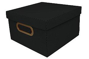 Caixa Organizadora Dello Linho Preta 25X25X15 cm