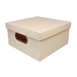 Caixa Organizadora Dello Linho Rosa Claro 29X29X15 cm
