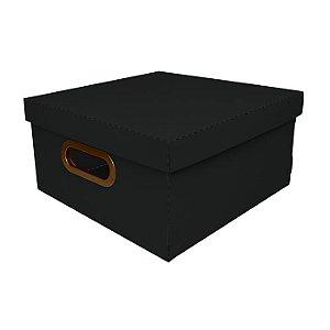 Caixa Organizadora Dello Linho Preta 29X29X15 cm