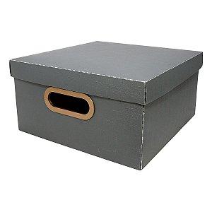 Caixa Organizadora Dello Linho Chumbo 29X29X15 cm