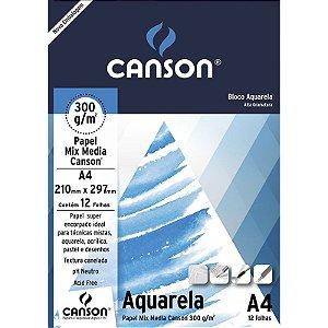 Bloco A4 300G Canson Aquarela 12 folhas