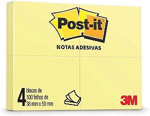 Bloco Adesivo 3M Post-It 50X38mm Amarelo com 4Blocos 100 fls