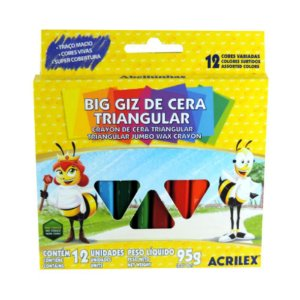 Big Giz De Cera Acrilex Triangular com 12 Unidades