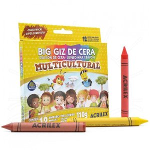 Big Giz De Cera Acrilex Multicultural com 12 Unidades