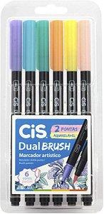 Caneta Cis Brush Dual Aquarelável Pastel com 6 Unidades